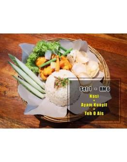 Set 1 (Nasi + Ayam Kunyit + Teh o Ais)