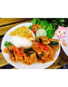 Salted Egg Lava Chicken Chop Rice